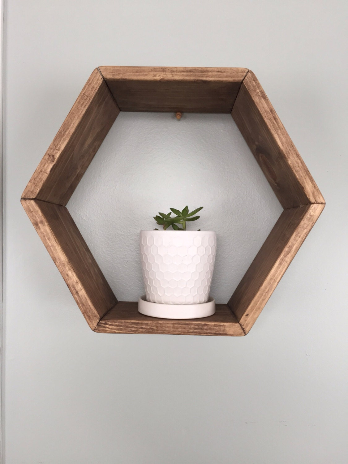 Marvelous photograph of Wood hexagon shelf. Geometric shelf. Wall hanging. by fredandmarie with #505929 color and 1125x1500 pixels