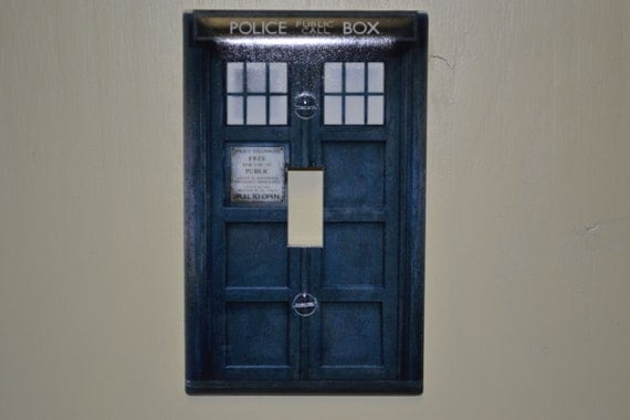 tardis light switch cover by saccastuff on etsy