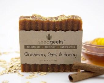 Cinnamon, Oats & Honey Handcrafted Soap - All Natural Soap, Handmade Soap, Vegan Soap, Cold Process Soap