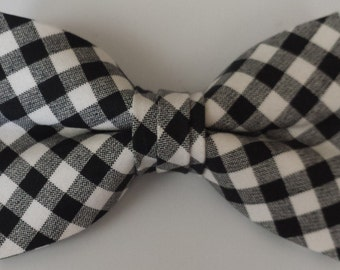 Black and White Gingham Boys Clip-On Bowtie/Pre-Tied