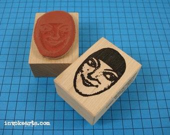 Gillie's Head Face Stamp / Invoke Arts Collage Rubber Stamps