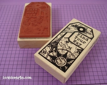 Find Your Way Tag Stamp / Invoke Arts Collage Rubber Stamps