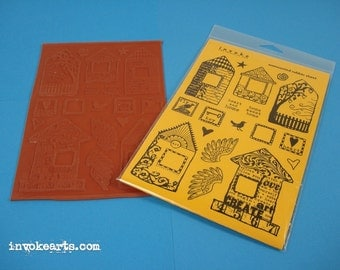Funky Houses Invoke Arts Collage Rubber Stamps / Unmounted Stamp Set