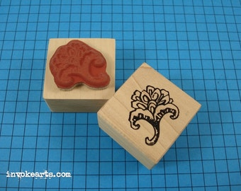 Paisley Rosette Stamp 1 / Invoke Arts Collage Rubber Stamps