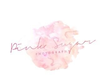 Pre-made Logo Design - Photography Blog Logo - Logo Template for Branding - Watercolor Logo - Premade Logo Design - Pink Watercolor Logo