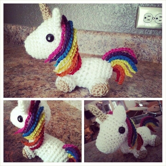 Amigurumi Unicorn Horn : Rainbow unicorn amigurumi
