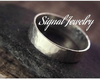 Thick sterling silver band - 4mm thick silver band - hammered sterling silver band