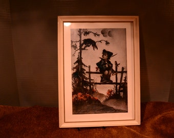 SALE / Hummel print / framed / white frame / boy / fence / horn / blackbird / Hummel / print / boy on fence / squawking bird / blackbird