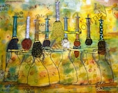 Menorah Women mixed media holding Hannukah candles Judaica, S&H INCLUDED