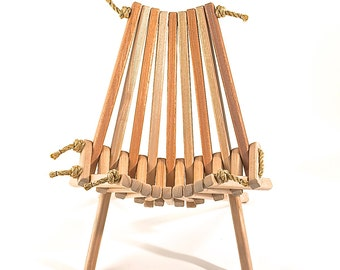 Ash/Mahogany PioneerChair/Patio/Wood/Folding/Rope/ Chair/Porch/Folding Chair/Chair/Patent/Rope/Gaming/Furniture/Chic/Sustainable/Original