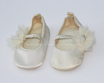 Baby Shoes Satin Ivory Ballet Flat Crib Shoes Christening Baby Shoes Flower Girl Shoes Wedding Baby Shoes