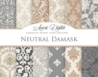 Neutral Damask Digital Paper. Scrapbooking Backgrounds. Tan, gray, cream patterns for Commercial Use. Damask clipart Instant Download.