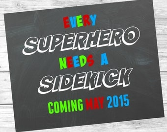 Chalkboard Superhero Pregnancy Announcement - Printable Digital File / Photo Prop