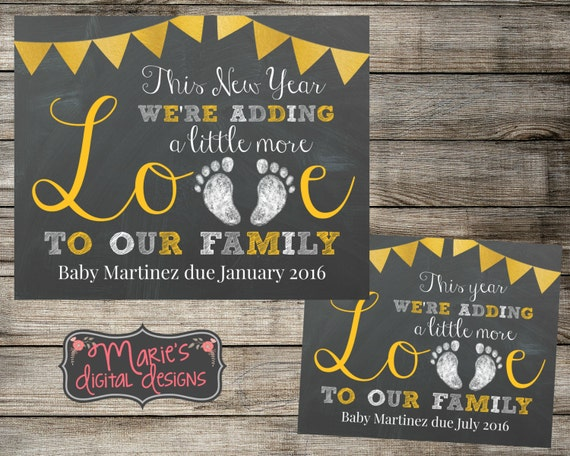 PRINTABLE Baby Pregnancy Announcement This New Year – New Years Birth Announcement