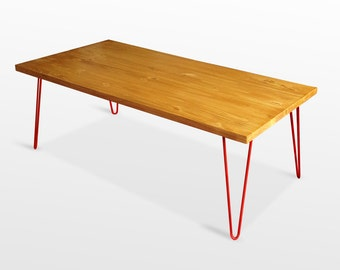Mid Century Modern Coffee Table, Mid Century Modern Furniture, Red Hairpin Legs, Reclaimed Wood table