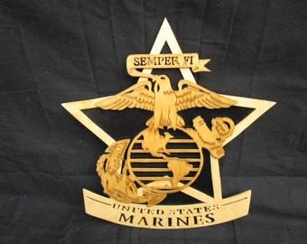 marine corps star, measures 12 1/4x 11 1/2