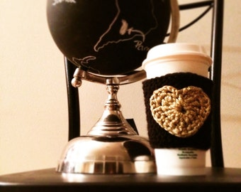 Heart Coffee Cozy- Heart Cozy- Gold Heart To Go Cozy