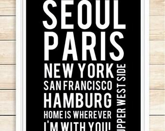 Custom Subway Print, Subway Art, Personalized Word Art, Anniversary Gift, Wedding Gift,  Birthday, Subway Poster, Wall Art, coffeeandcoco