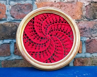Framed lace jewellery holder, knitted wall art, vintage frame