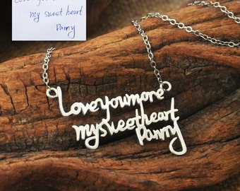 Signature Necklace, Multiple Lines Signature Necklace in Silver, Handwriting pendant, Handwritten , Handwriting Jewelry Mommy Necklace