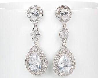 Wedding Earrings Zirconia Earrings Wedding Jewelry Bridesmaid Earrings Bridesmaid Accessories Dangling Teardrop Earrings stl15