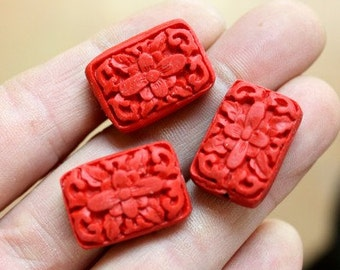 3pcs--Cinnabar Beads, 18x24mm  (B8-6)