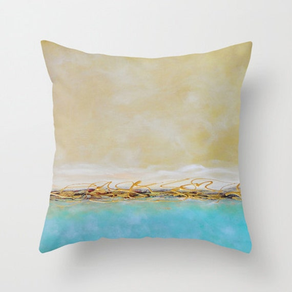 Turquoise Down Throw Pillows : Turquoise Decorative Pillow Blue Throw Pillow by DesignbyJuliaBars