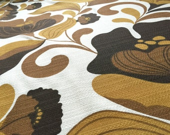 Vintage 70s fabric 50x120cm: Brown flowers