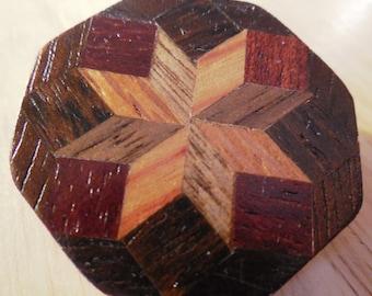 "Wood Inlay Brooch-1 1/8"" Lonestar Pattern Brooch Pin-Geometric Design Inlay, Beautiful Wood Art"