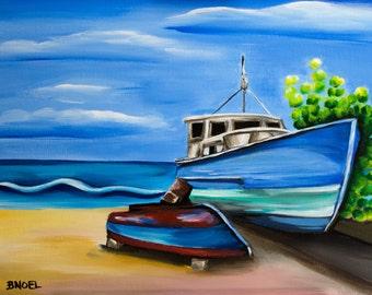 "Barbados Boats 14x18"" original painting by Artist Barbara Noel."