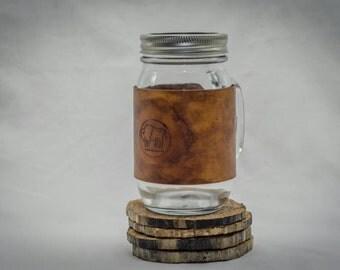 Handmade leather mason jar bison coffee mug full grain cowhide
