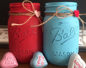 Valentine's Day Gifts - Teacher Gift Ideas - V Day Gift - Painted Mason Jars - Heart Ball Jars - Candy Jar - Gifts for Friends - Flower Vase