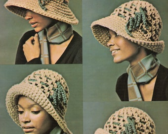 Big Brim Cloche Hat Crochet Pattern Womans Large Brim Hat Cap Crochet Pattern PDF Instant Download