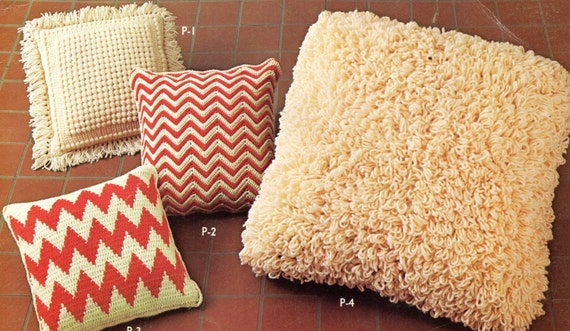 Giant Chevron Floor Pillows : 4 Pillows Crochet Pattern Chevron Loopy Shag 1 Large Floor Pillow and 3 Sofa Pillows PDF Instant ...
