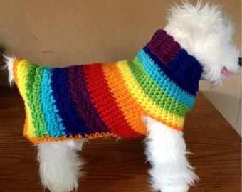 Hippie Handmade, Knit Dog Sweater, small dog sweater, dog sweaters, dog sweater, dog clothes, dog sweaters for sale, rainbow dog sweater