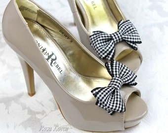Black Gingham Shoe Bows, Black Bow Clip Shoes, Black Shoe Clips, Black Retro Rockabilly Pin Up Girl Bows for Shoes