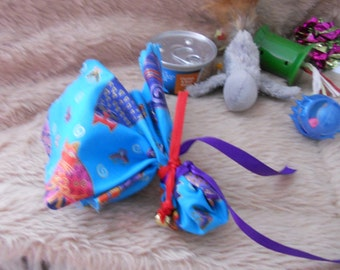Handcrafted Fresh Catnip Ball in Cute Cat Motif Package tied with Ribbon and Bell