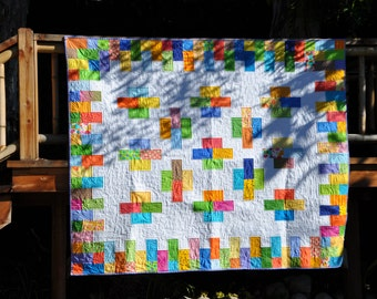 Bright, Colorful Patchwork Quilt possibly for Baby 54 x 66