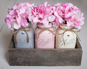 Painted Mason Jars in Reclaimed Wood Box