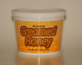 1lb (16oz).  Mild CINNAMON Flavored Wildflower Creamed Honey, Whipped,Spun Honey, NATURAL, Unprocessed Honey