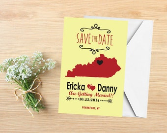 Save the Date, State Save the Date Postcard, Destination Wedding, Wedding Invitations, Kentucky, Stationery, State Map
