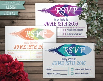 Printable RSVP Card - Colorful Feather - Digital File - Customizable