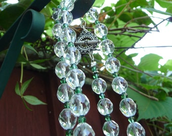 Faceted natural quartz and green Czech glass necklace