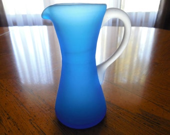 Blue Frosted Pitcher Vase with Clear Frosted Handle