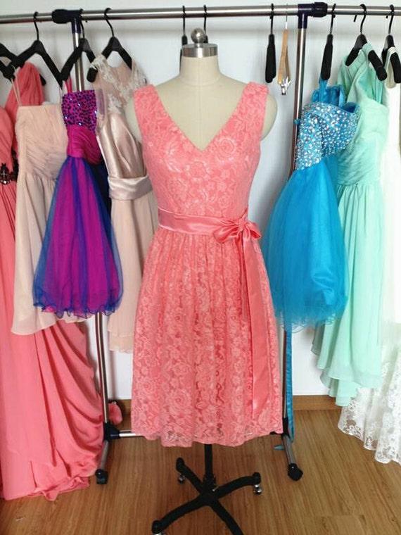 Short Coral Bridesmaid DressCheap Lace by PromDressHeaven ...