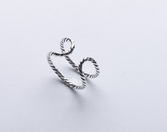 Sterling Silver double Rope adjustable Ring