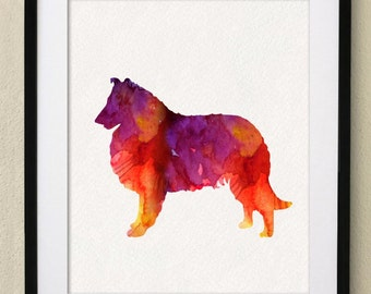 Dog Poster -Collie Watercolor Painting Wall Art Wall Decor Art Home Decor Wall Hanging