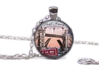 London Necklace London Jewlery Travel Necklace Wearable Art Pendant London Bridge