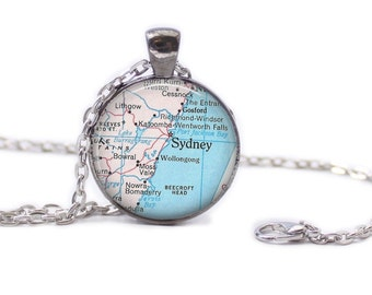 Sydney Australia Map Pendant Map Necklace Map Jewelry Map of Australia Necklace