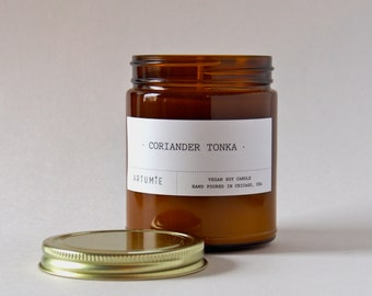 Coriander Tonka Scented Candle - Hand Poured, 100% Soy Wax - 9 oz.